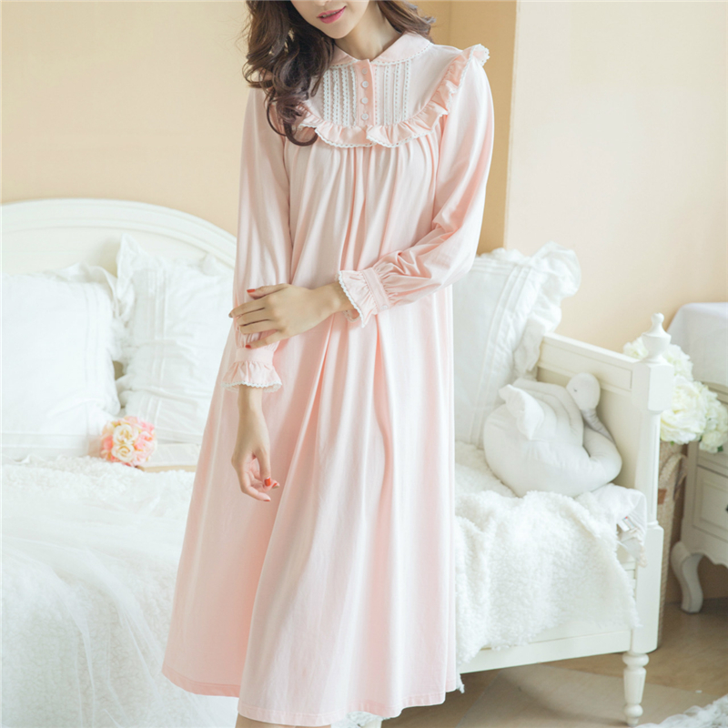 724ac94fc Nightgowns Sleepshirt 2017 Sleepwear Solid Nightdress Vintage ...