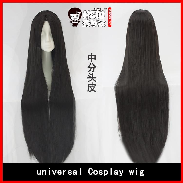 HSIU Högkvalitativ 100cm lång rak peruk centralt parti Cosplay - Maskeradkläder och utklädnad - Foto 2