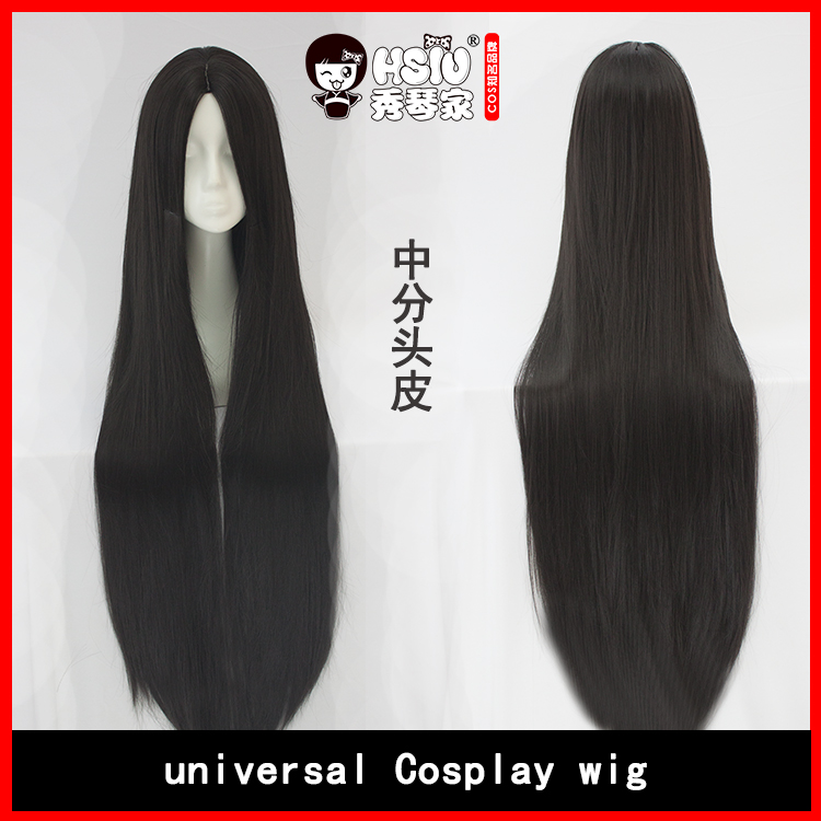 HSIU High Quality 100cm Long Straight Wig central parting Cosplay Wig black Costume Play Wigs Halloween party Anime Game Hair