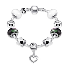 2016 European Classic style charm transfer heart glass Beads Silver Plated Bracelets&Bangle Unique Jewelry Women Gift Pulseras