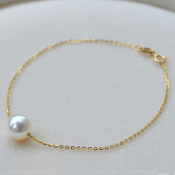 Gold Chain Bracelet with 7.5-8mm Natural Pearl 1