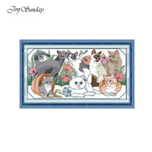 New Arrival Joy Sunday Counted Cross Stitch Kits DMC 11CT 14CT Cat Animal Pattern Printed Embroidery Needlework Kit