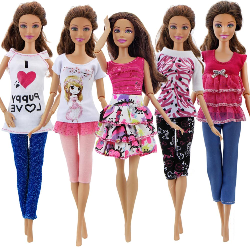 5 Set Handmade Fashion Outfit Daily Casual Wear Blouse Shirt Vest Bottom Pants Skirt Clothes For Barbie Doll Accessories Gift free shipping 5set 5 clothes 5 trousers jacket outfit pants outwear suit set coat for barbie doll dress clothes gift set