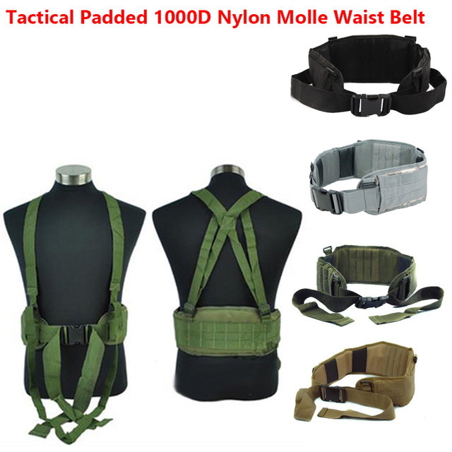 NEW Airsoft Tactical gear Padded 1000D Nylon Molle Waist Belt Combat Army Battle Belt Cummerbunds For Mens tatico militar Cintel
