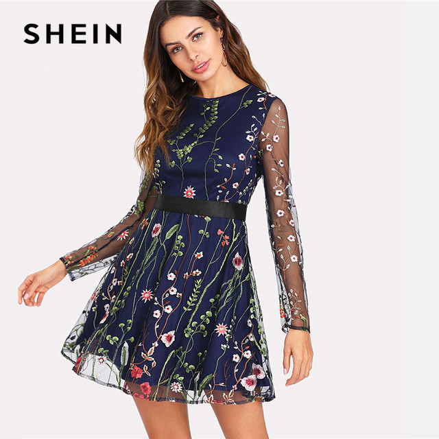 339ec30d3512 SHEIN Floral Embroidered Mesh Overlay Fit   Flare Dress 2018 Round Neck  Long Sleeve Elegant Dress Women Short Party Dress