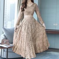 Plus Size Fashion Autumn Winter Women Dress Boho V Neck Hollow Lace Dresses Long Sleeve Dress Vestidos mujer Robes