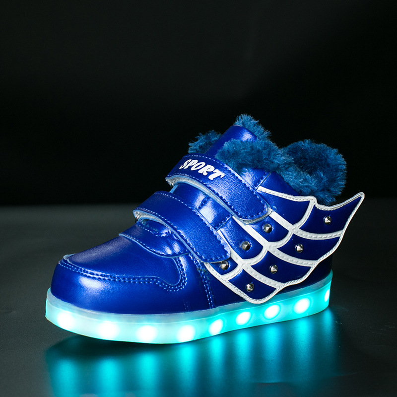 KRIATIV 2018 Winter Warm Eur Size 25-37 Girl&boy Luminous Sneakers Glowing Basket Led Tennis Light Up Shoe Led Sneakers Kid