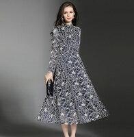 High Quality Women Vintage Dress Autumn Winter Long Sleeve Retro Robe Female Party Vestidos Stand Collar