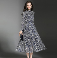 High Quality Women Vintage Dress Autumn Winter Long Sleeve Retro Robe Female Party Vestidos Stand Collar