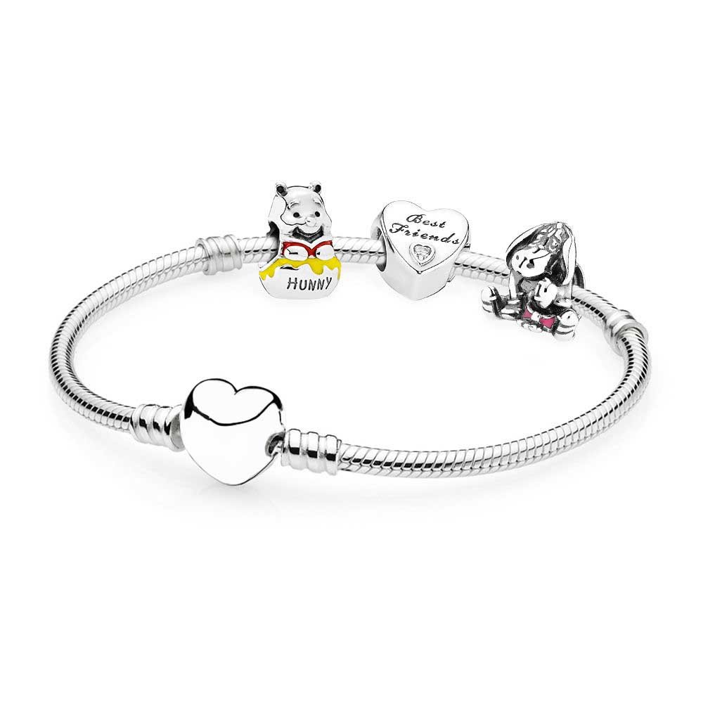 100% 925 Sterling Silver Wi the Poo And Eeyore Bracelet Gift Set Fit DIY Original Charm Bracelets Jewelry A Set Of Prices