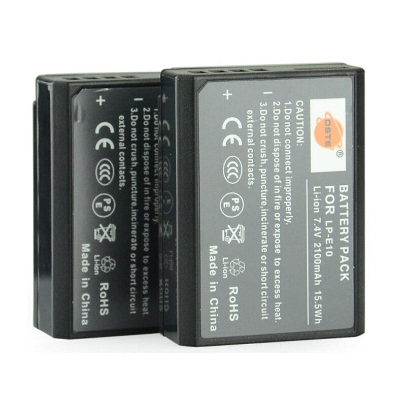 DSTE 2 pcs LP-E10 LP E10 lp-e10 7.4 v 2100 mAh Appareil Photo Numérique batterie pour Canon 1100D 1200D 1300D Rebel T3 T5 BAISER X50 X70