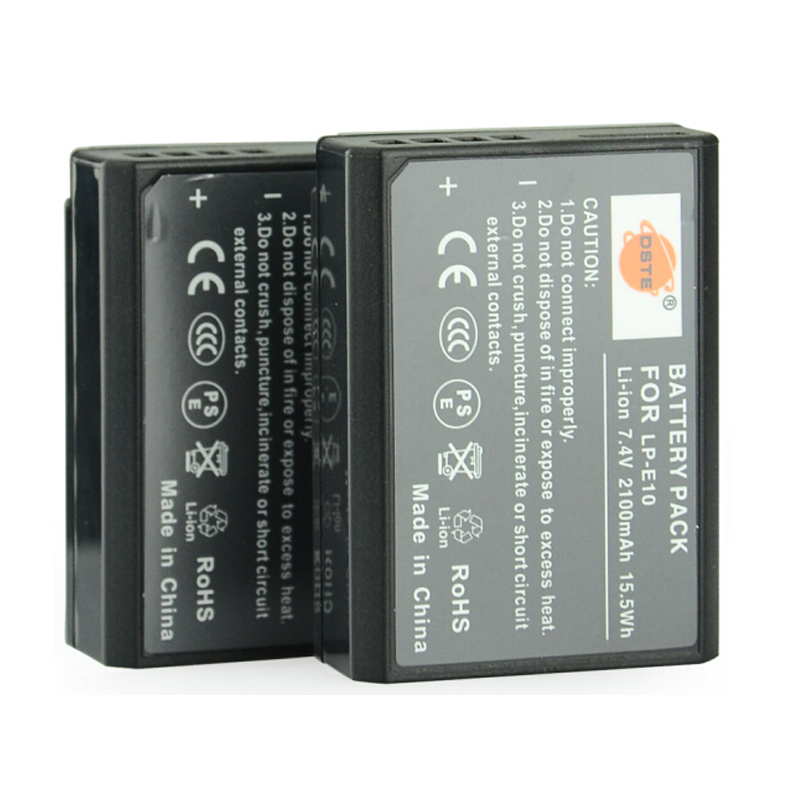 DSTE 2pcs LP-E10 LP E10 lp-e10 7.4v 2100 mAh Digital Camera Battery for Canon 1100D 1200D 1300D Rebel T3 T5 KISS X50 X70