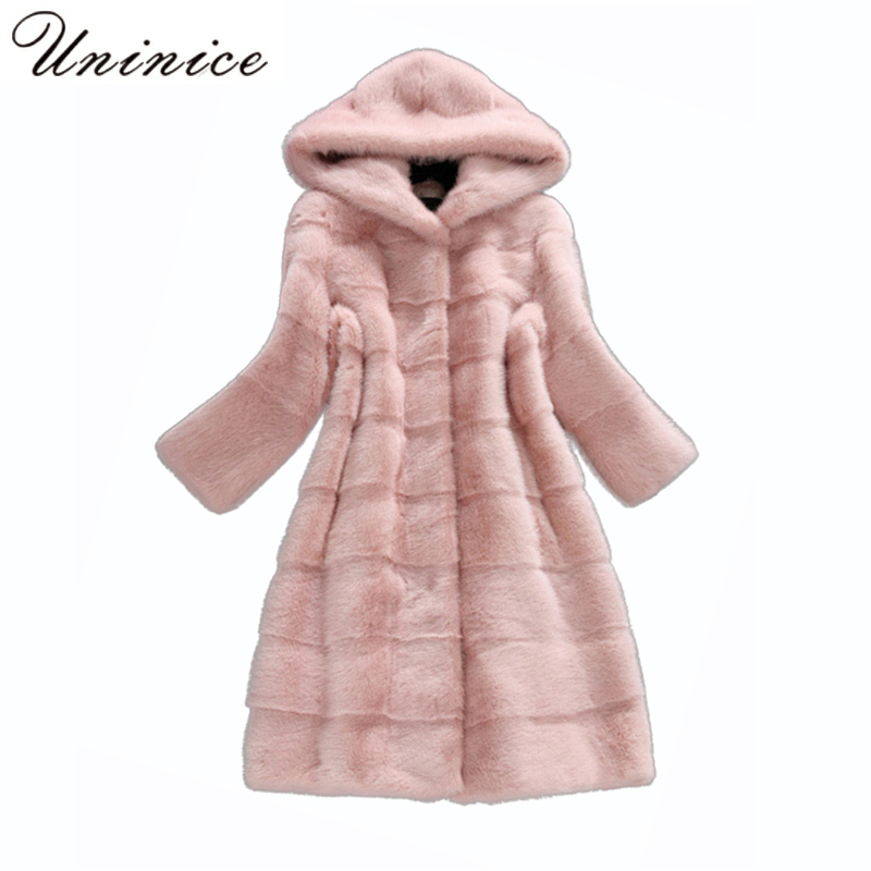 Faux fur coats women thick Winter warm Long Coat Jacket Elegant casual loose 2017 Overcoat Long Sleeve Female with hood pocket 2017 winter classic fashion fur hoodie coat jacket women thick warm long sleeve cotton coats student medium long loose overcoat