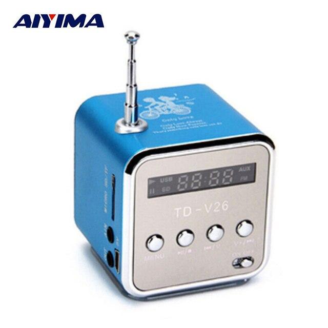 Altavoces de Audio portátiles AIYIMA Micro USB Mini altavoz estéreo música MP3 MP4 Radio FM TDV26 Radio FM RECEPTOR con Digital LCD