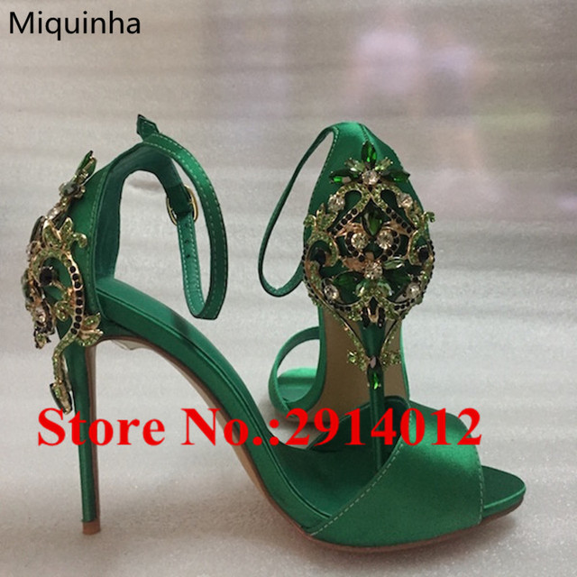 2018 Summer Green Silk Shoes Women Crystal Embellished Designer High Heel  Women Sandals Peep Toe Ankle Strap Cozy Shoes Mujer 2ac6617ccab6