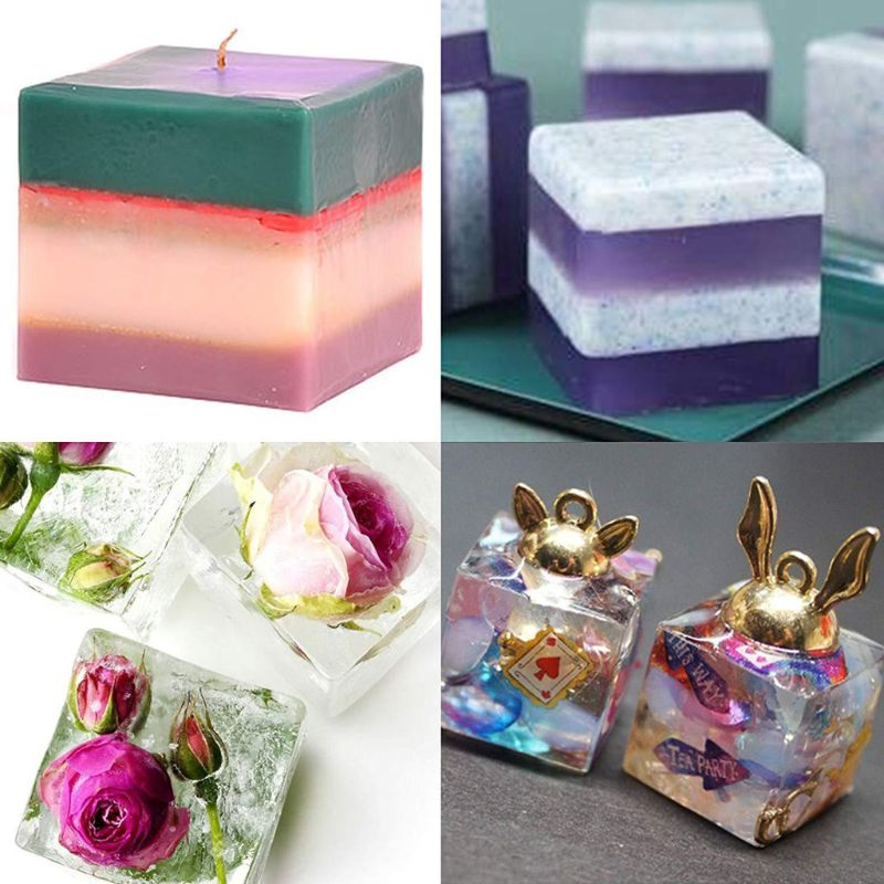 6Pcs Square Resin Mold Cube Silicone Molds Casting Jewelry Making 6 Sizes