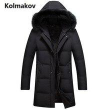 KOLMAKOV 2017 new winter high quality men's fashion hooded Fox fur collar down jacket,90% white duck down coat warm long parkas.