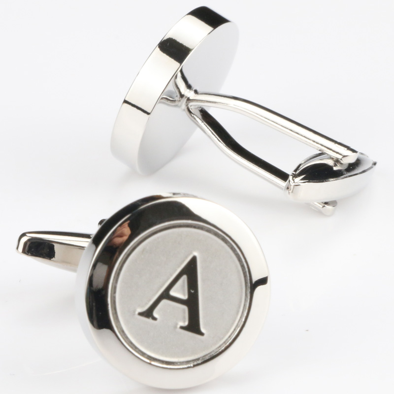 Clearance SaleMens Classic silver Initial Cufflinks Alphabet Letter Cufflinks Formal Business Wedding Shirts A-Z