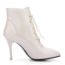 Sexy Women Ankle Boots Winter Stiletto Lace Up