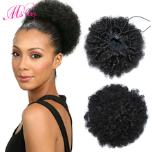 Afro Kinky Curly Ponytail 100% Human Hair Drawstring Ponytail With Clps in For Women Brazilian Non Remy Hair 1 Piece Ms Love