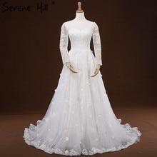 Robe De Mariee Sur Mesure White Wedding Dresses Long Sleeves Embroidery Fashion Tulle Sexy Bridal Dresses 2017