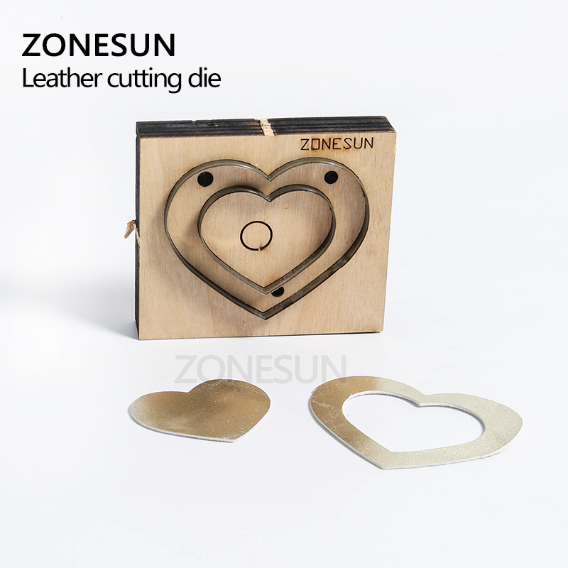 ZONESUN Heart-shape cutting die bag accessory decoration punching tool for key fob die cutting machine DIY handicraft cutter