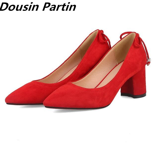 Dousin Partin 2018 Newest style pointed toe Thich high heels lace women pumps suede leather women