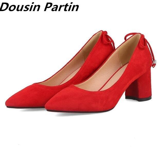 Dousin partido 2018 nuevo estilo de Punta puntiaguda Thich tacones altos de encaje mujeres bombas de gamuza zapatos de mujer para señoras tacones-in Zapatos de tacón de mujer from zapatos    1