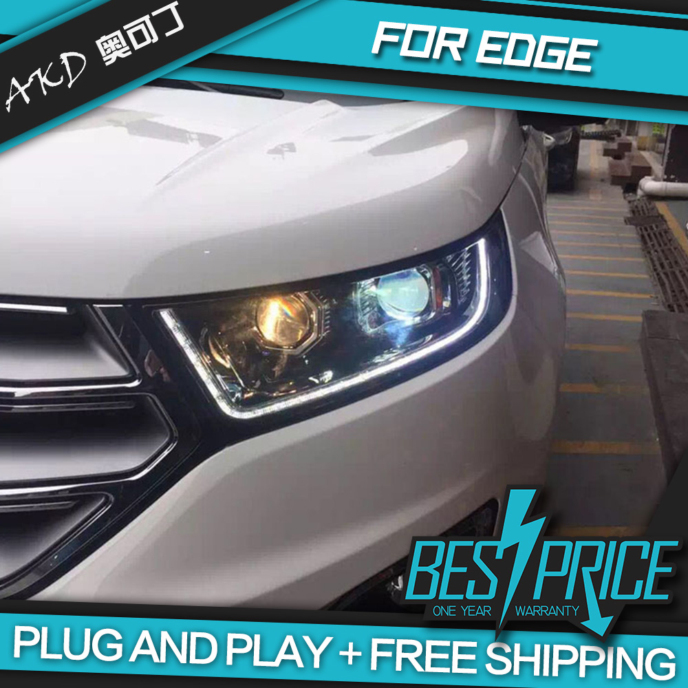 Akd car styling head lamp for edge 2016 headlights led headlight daytime running drl bi