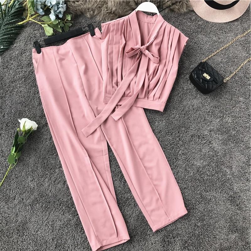 Gagarich Women Two Piece Set Korean Summer Fashion Pencil Pants 2019 New Lotus Leaf Side Sleeveless Lace Tops Elegant Suit