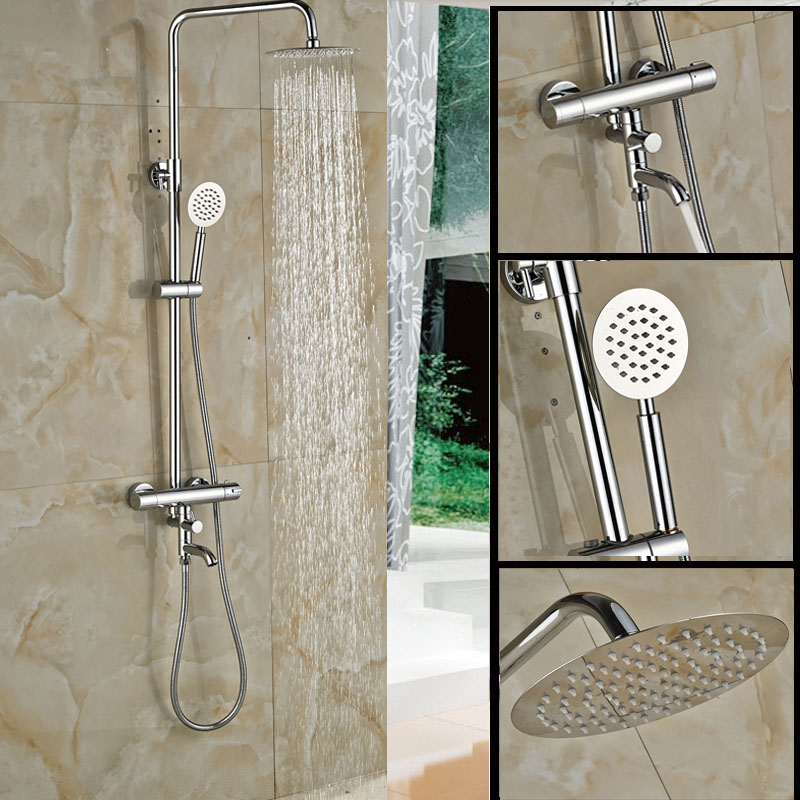 Wall Mounted Two Handle Thermostatic Mixers Shower Faucet Set Chrome Brass 8