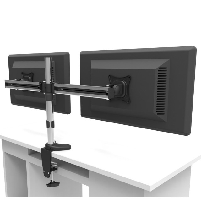 Full Motion Rotating Dual Screen LED LCD Monitor Holder Desktop Clamping Grommet Mounting Arm Bracket MD3002