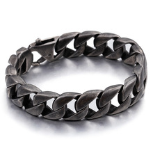 Retro-fashionable Titanium Steel Bracelet for Men Fashionable Simple Chao Men's Bracelet Black Cast Stainless Steel Jewelry fashionable simple pu leather titanium steel braided wrist bracelet for men black silver