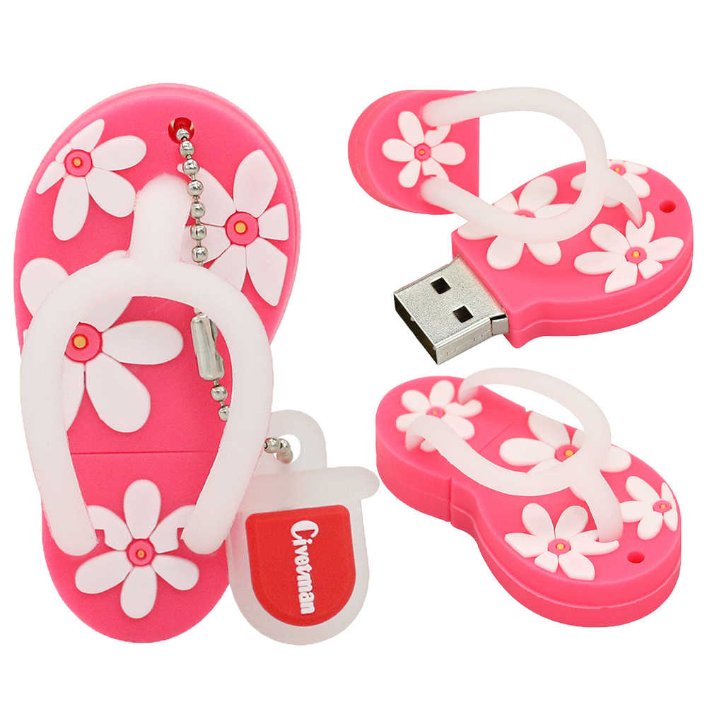 Top Venda Sapatas Da Flor Dos Desenhos Animados USB Flash Drive USB 2.0 Memória Flash Stick Pendrive 4 gb gb 16 8 gb 32 gb 64 gb Chinelos Pen Drive
