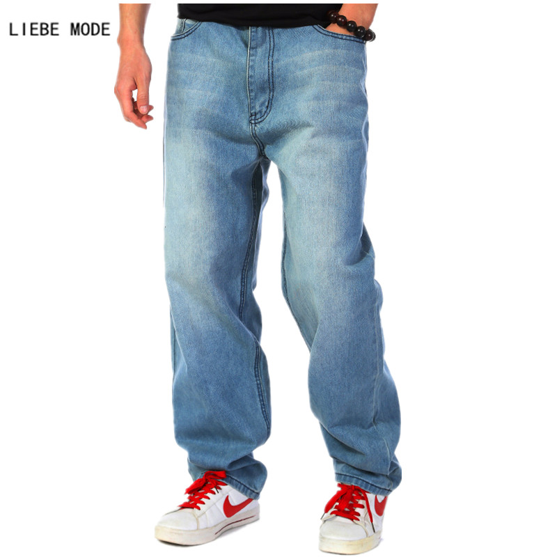 Large Waist Mens Blue Baggy Jeans Plus Size Skateboard Pants Man Boot Cut Jeans Loose Wide Leg Denim Pants size 46 44 42 40 winter thicked jeans mens straight loose jeans denim fleece denim blue leisure trousers autumn man botton plus size 46 48