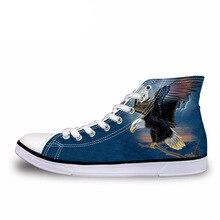 NOISYDESIGNS EUR Size 37-45 Men Vulcanize Shoes Cool 3D Animal Eagle Owl Printed High Top Canvas Shoes Classic Men Flat Sneaker