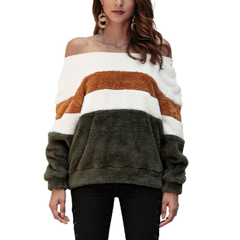 Women Long Sleeve off Shoulder Pullover Stripe Print Sweatshirt Casual Loose Tops
