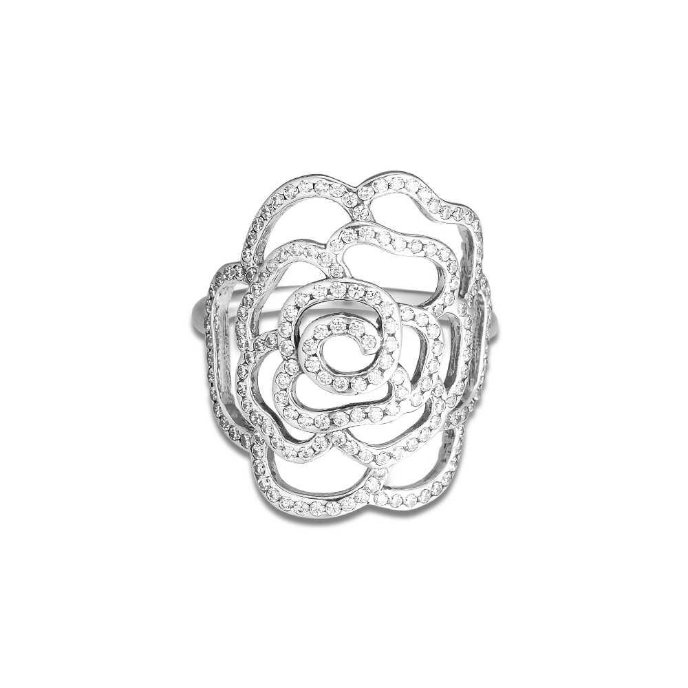 CKK Große Rose Ring 925 Sterling Silber Klar CZ Hochzeit Original Ringe für frauen Silber 925 anillos mujer Edlen Schmuck