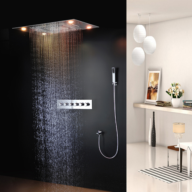 Rainfall Led Rain Shower Head 24 30 Inch Ceiling Mounted Bathroom Stainless Steel