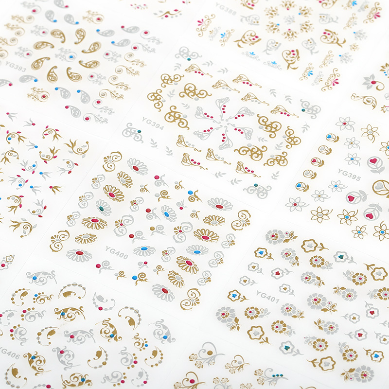 24Pcs/Lot Glitter 3D Gold Heart Flowers Design Nail Art Decals Manicure Decorations Supplies Stamping Stickers For Nails JH168 diy template stickers for nails charms flower heart bow stamping nail art manicure guide
