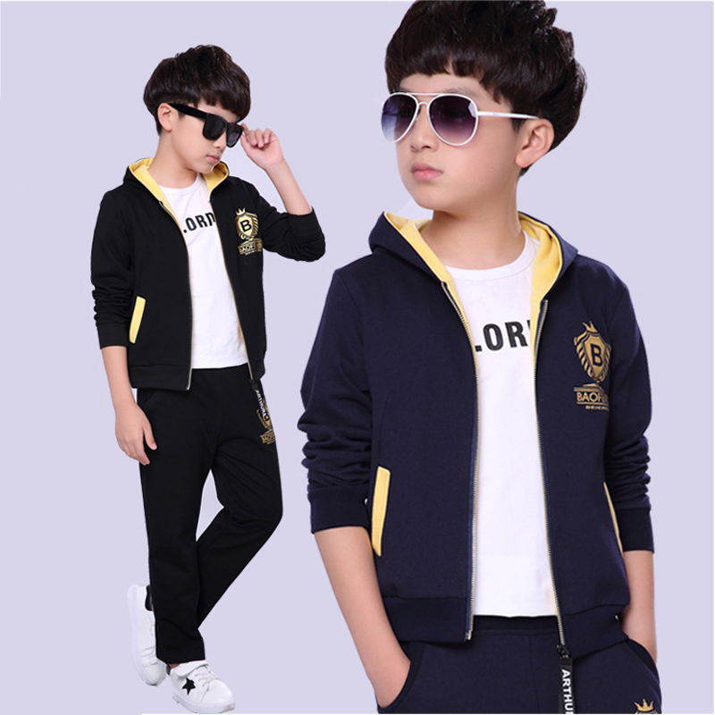 2018 Children Clothing Sets Cotton Boys Sports Suit Big Boy Spring Clothes Set Zipper Cadigan Pants 2 Pcs Set 4-16 Years Old