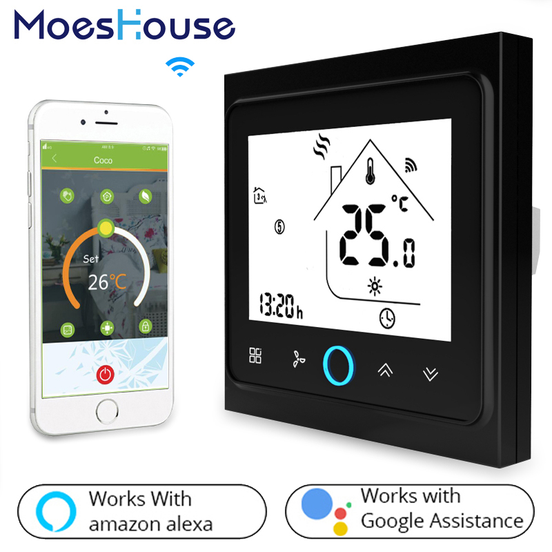 US $34 66 48% OFF|2 Pipe WiFi Air Conditioner Thermostat Temperature  Controller Fan Coil Unit Work with Alexa Google Home-in Smart Temperature  Control