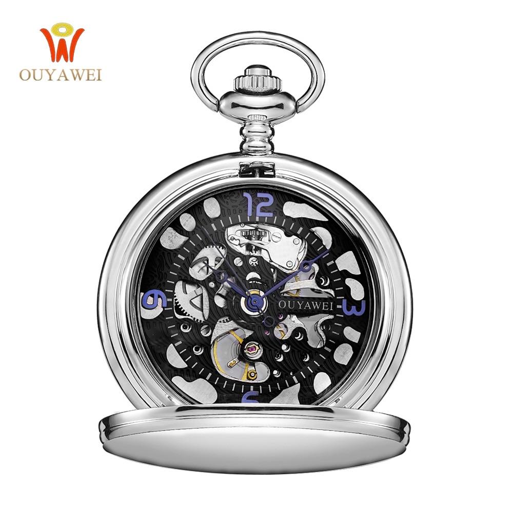 OUYAWEI Mode Zwarte Steampunk Skelet Fob Horloges voor Mannen Ketting - Zakhorloge - Foto 1