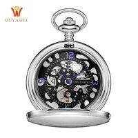 OUYAWEI Fashion Black Steampunk Skeleton Fob Watches for Men Chain Male Clock Hand Wind Emblem Antique Mechanical Pocket Watch