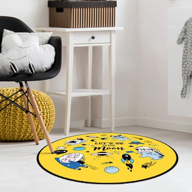 Fresh Round Rug Cartoon Carpet Universal Animals Computer Chair Floor Pad Mat For Bedroom Kids