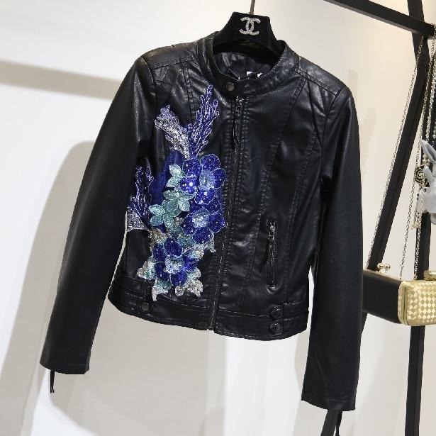 Manteaux bleu À Mode Femmes Veste Montant Pu Col Automne Vestes Moto Cuir  Dames Femelle Outwear De Glissière Courte Slim 2018 Fermetures Noir HqPwd1vH 407bc4108c52