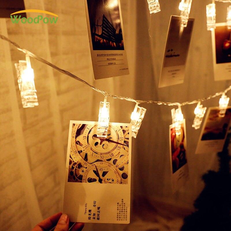 WoodPow 1 M 2 M fotos de tarjetas fotos Clips clavijas LED brillante Cadena de luz batería de interior fiesta de hogar Festival decoración de la boda