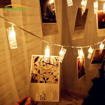WoodPow 1M 2M imágenes de tarjetas ganchos para fotos clavijas brillantes LED Cadena de luz batería energía interior fiesta en casa decoración de boda