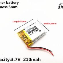 1 шт./лот 3,7 V 210mAH 502025 полимерный литий-ионный/литий-ионный аккумулятор для DVR, gps, mp3, mp4