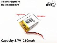 1 cái/lốc 3.7 V 210 mAh 502025 Polymer lithium ion/Pin Sạc Li ion cho ĐẦU GHI HÌNH, GPS MP3, MP4